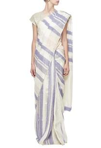 ivory-indigo-striped-linen-sari