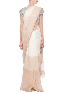 ivory-and-beige-linen-sari
