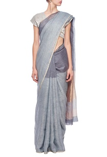 grey-slate-metallic-gold-linen-sari