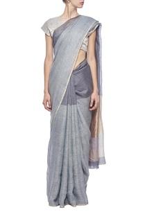 grey-slate-metallic-gold-linen-sari