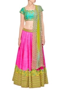 fuschia-sea-green-floral-embroidered-lehenga-set
