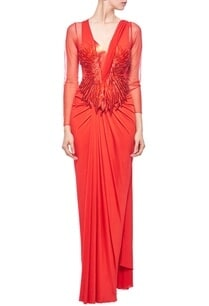 red-faux-metal-embellished-sari-gown