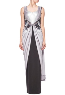 grey-black-embellished-sari-gown
