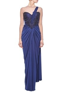 ink-blue-faux-embellished-sari-gown