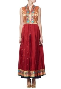 deep-red-gold%c2%a0pleated-kurta-with-blue-pants