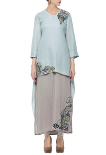 light-blue-taupe-appliqued-layered-tunic-with-churidar