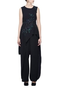 black-floral-embellished-layered-jumpsuit