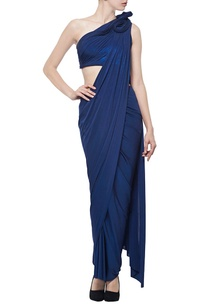 metallic-navy-blue-sari