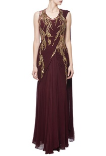 wine-gold-foliage-embellished-sari-gown