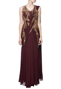 deep-wine-zardosi-embroidered-sari-gown