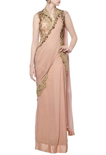 dusky-peach-embroidered-lace-sari-gown