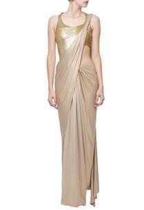 dull-gold-shimmer-sequin-embellished-sari-gown