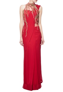 red-embellished-sari-gown