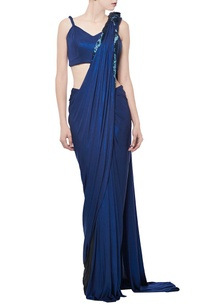 royal-blue-shimmer-embellished-sari