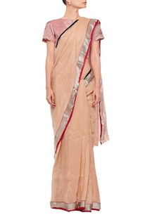 beige-linen-sari-with-contrast-border