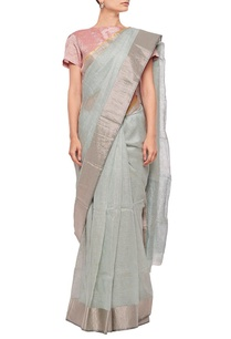 pale-blue-linen-sari-with-silver-border