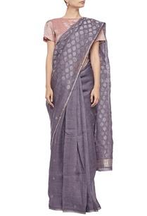 grey-and-silver-woven-linen-sari
