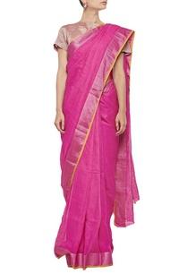 raani-pink-herringbone-linen-sari