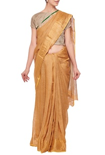 bronze-sari-with-silver-woven-border
