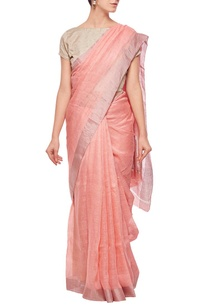 salmon-linen-sari-with-silver-border