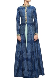 midnight-blue-embroidered-jacket-with-mint-georgette-inner