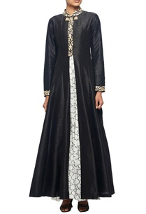 black-raw-silk-embroidered-jacket-with-white-printed-georgette-inner