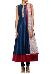 midnight-blue-embrodiered-anarkali-set-with-matching-churidar-printed-dupatta
