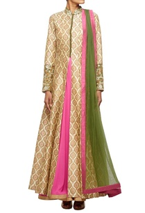 beige-motif-printed-jacket-with-a-georgette-inner-and-net-dupatta