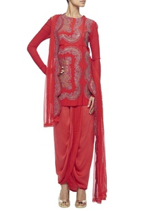 red-embroidered-kurta-with-wrap-skirt-embroidered-dupatta