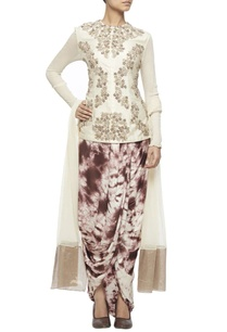 off-white-embroidered-jacket-with-tie-and-dye-wrap-skirt-net-dupatta