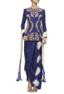 midnight-blue-jaal-jacket-with-wrap-skirt-embroidered-dupatta