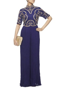 midnight-blue-gathered-jumpsuit-with-gold-embroidery