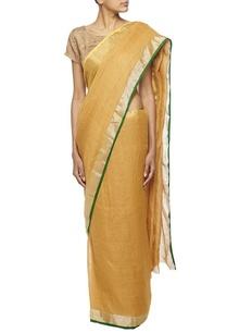 ochre-woven-linen-sari