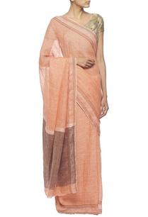 light-coral-linen-sari