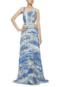 white-and-blue-snakeskin-printed-maxi-dress
