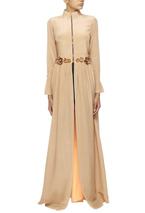 full-length-nude-front-zippered-dress-with-pockets