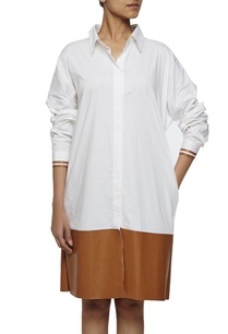 white-shirt-dress-with-leather-patch
