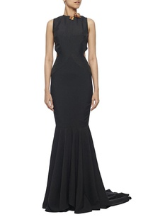 black-fishtail-cut-out-gown-with-metal-flowers