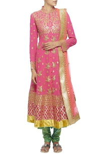 pink-gota-embroidered-kalidar-kurta-set
