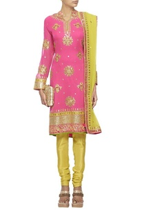 raani-pink-and-lime-green-embroidered-kurta-set