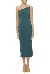 forest-green-dress-with-tan-leather-detailing