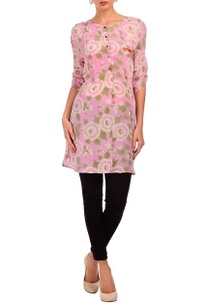 baby-pink-pale-brown-floral-printed-tunic