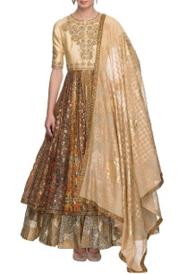 beige-gold-printed-anarkali-with-dupatta