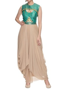 beige-green-drape-dress-with-chain-details