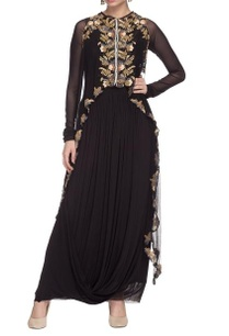 black-dress-with-floral-embellished-cape