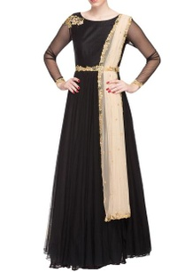 black-floral-embroidered-anarkali-with-attached-dupatta