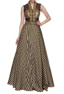 black-gold-striped-embellished-gown