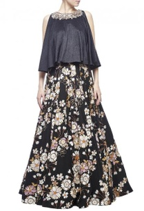 black-ivory-beige-floral-printed-embellished-lehenga-set