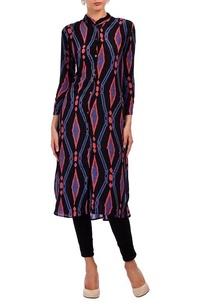 black-purple-pink-geometric-printed-tunic