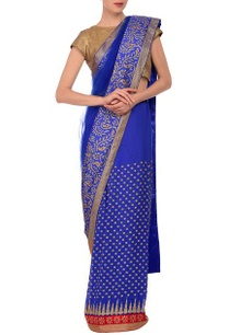 blue-embroidered-sari-with-brocade-blouse